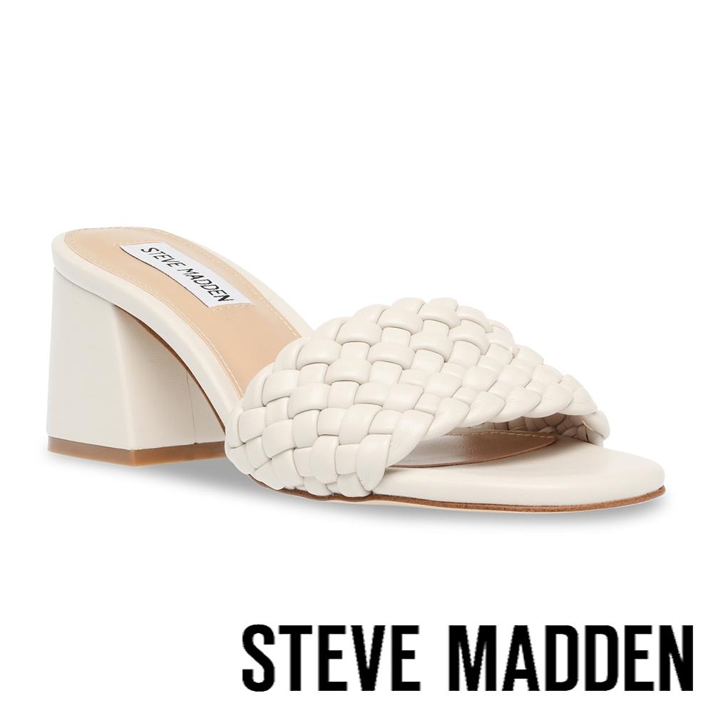 STEVE MADDEN-ASPYN 細編織復古粗跟涼拖鞋-米杏色