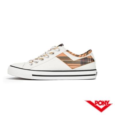 【PONY】Shooter系列 拼接格紋LOGO短筒帆布鞋 女鞋 格紋黃