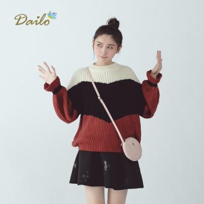 新降【Dailo】迷人女孩波浪袖-針織衫(二色)