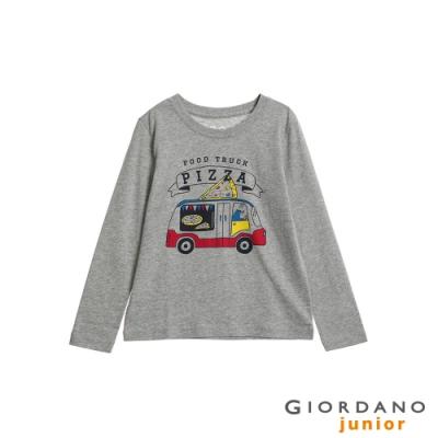 GIORDANO 童裝童趣塗鴉風印花長袖T恤-82 中花灰
