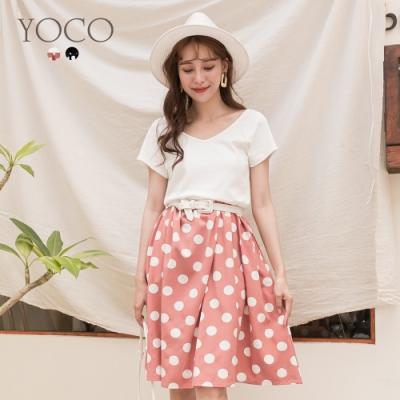 東京著衣-YOCO 優雅復古雙V領點點印花拼接洋裝-S.M.L(共二色)