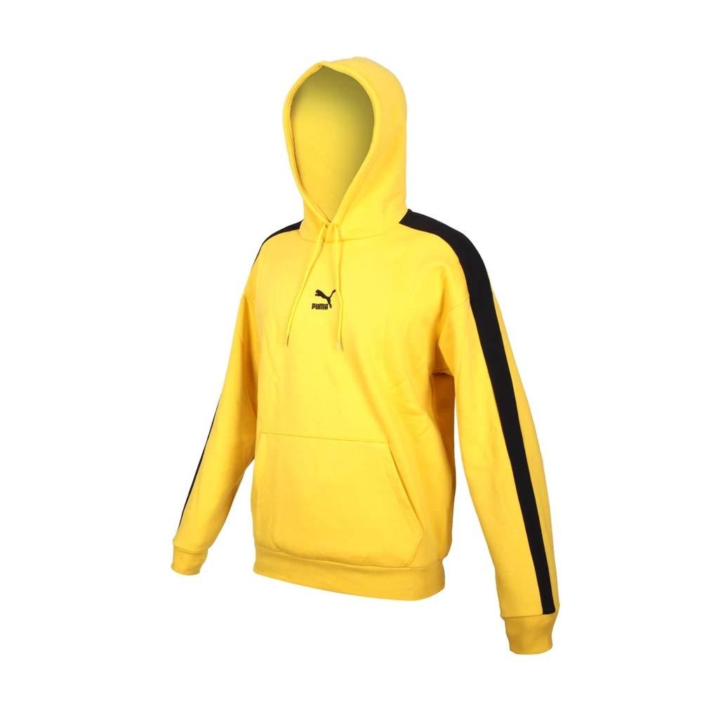 PUMA 男寬版T7長厚連帽T恤-歐規 帽T 休閒 慢跑 刷毛 保暖 上衣 53027299 黃黑