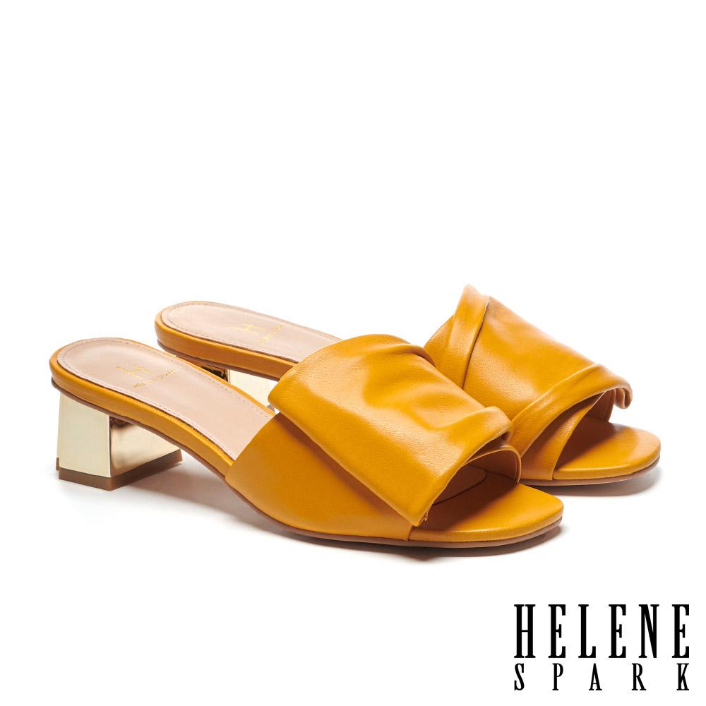 拖鞋 HELENE SPARK 時尚抓皺感全真皮金屬粗方跟拖鞋-黃