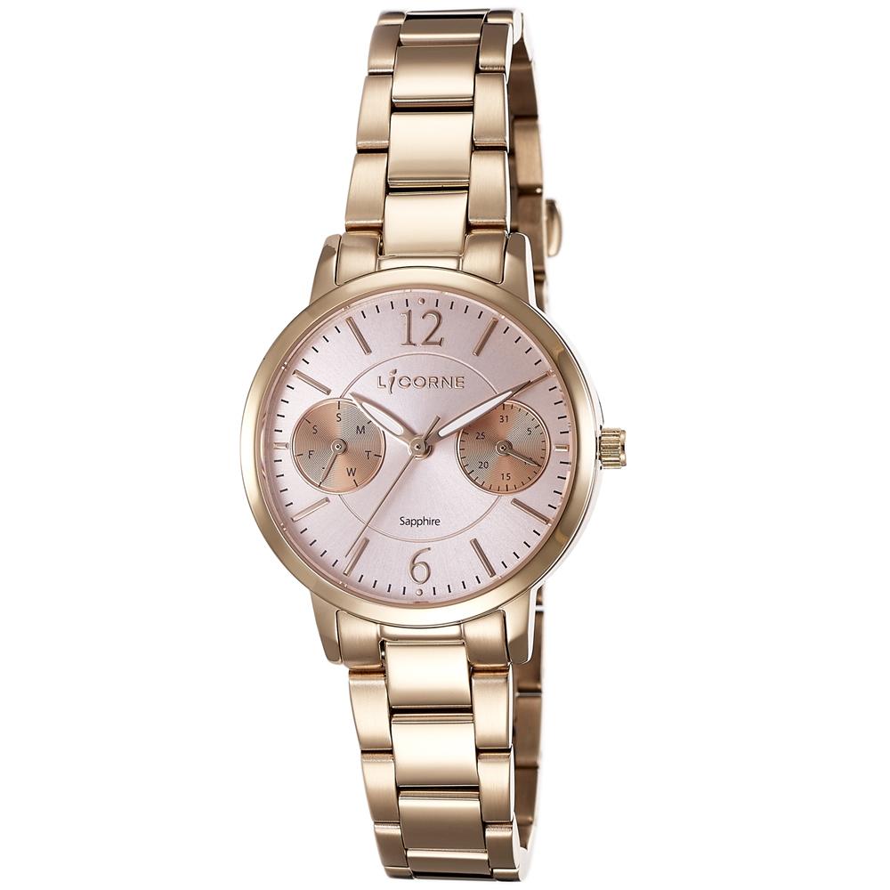 LICORNE 力抗錶 花漾時光雙眼手錶-玫瑰金x粉紅/30mm @ Y!購物