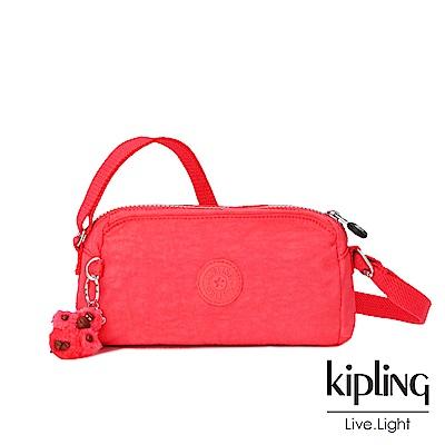 Kipling 亮橘色素面輕巧斜背小包-NEW ABELA