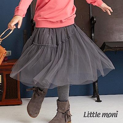 Little moni 假兩件不規則網紗蓬裙(兩色可選)