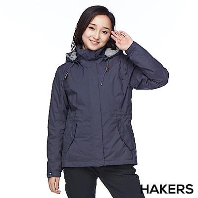 【HAKERS 哈克士】女款 三合一防水保暖外套(石墨藍)