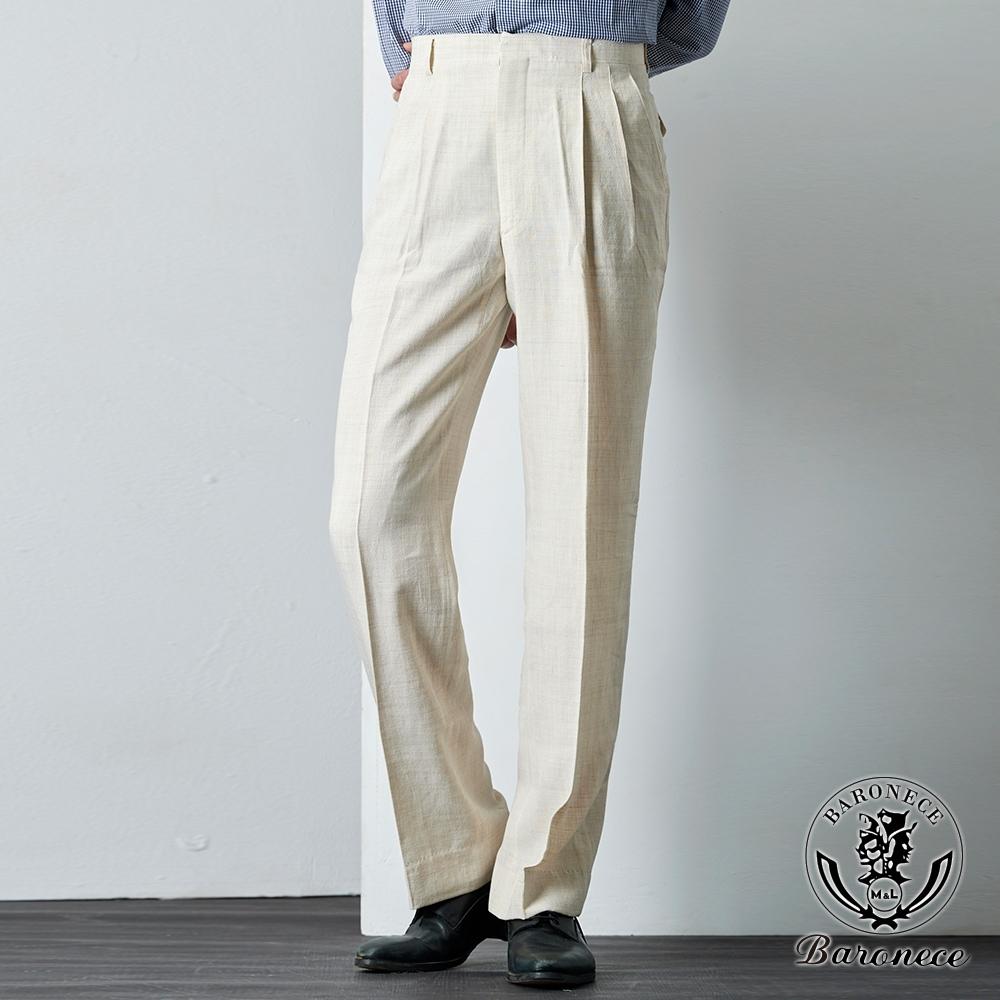 BARONECE 百諾禮士 舒適麻料混紡雙褶西褲_米白(62102-02)