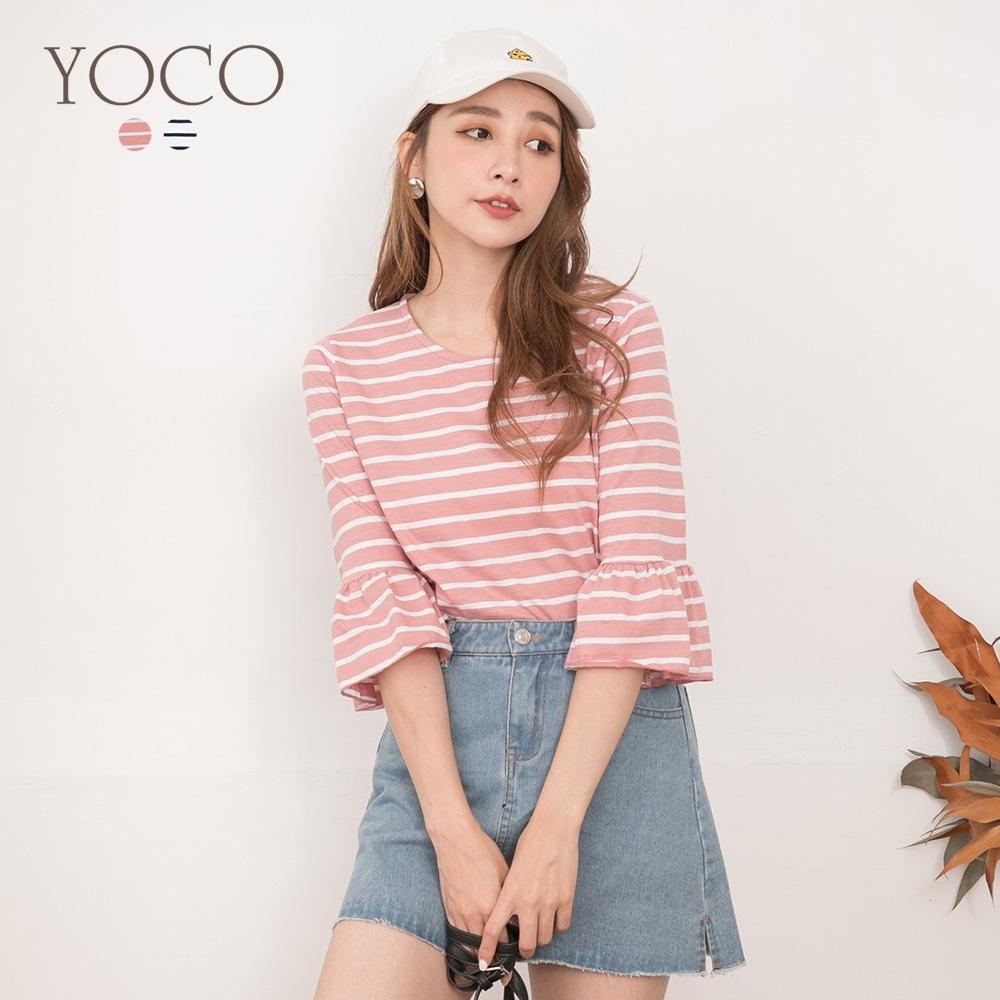 東京著衣-YOCO 輕甜簡約橫條紋荷葉袖上衣-S.M.L(共二色)