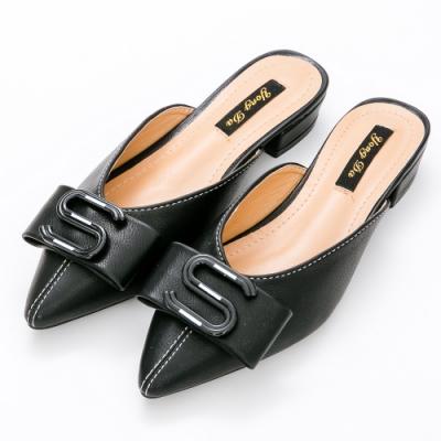 River&Moon穆勒鞋.S扣飾低跟穆勒鞋-黑
