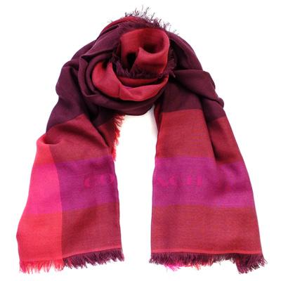 COACH酒紅桃紫拼色莫代爾混羊毛方型圍巾(111x111cm)COACH