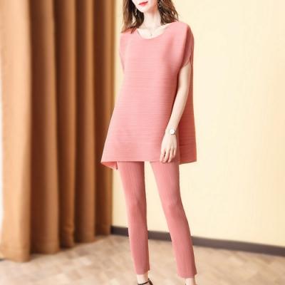 時尚純色圓領高端壓摺寬鬆褲套裝-F(共二色)-糖潮
