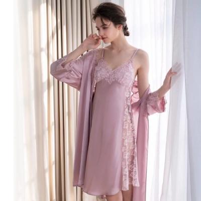 羅絲美睡衣 - 水影幻夢內外套二件式睡衣(玫瑰粉)