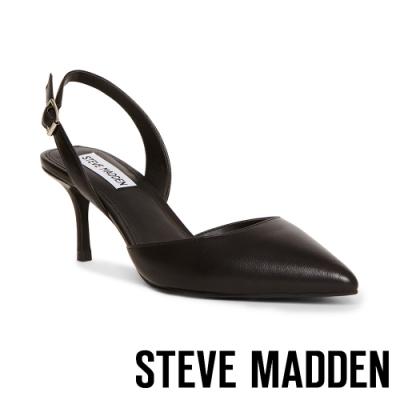 STEVE MADDEN-TISH 名媛推薦 後跟帶包趾細跟涼鞋-黑色