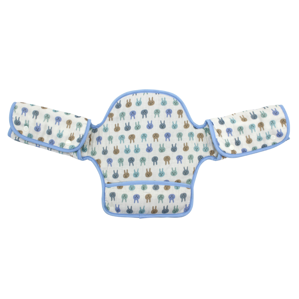日本西村媽媽 Lucky (揹巾專用)展翅飛翔360度環繞式口水墊(粉藍兔子) @ Y!購物