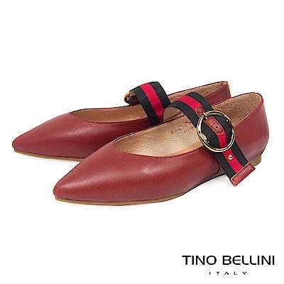 Tino Bellini 文藝復古氣質釦帶瑪麗珍鞋 _ 棕紅