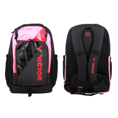 VICTOR 背包-後背包 雙肩包 肩背包 裝備袋 球拍包 羽球 勝利 BR8010IC 黑粉紅