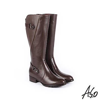 A.S.O 簡約線條 細緻質感壓紋真皮長靴 咖啡