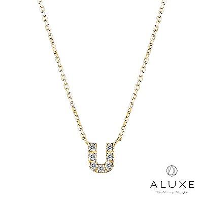 A-LUXE 亞立詩 Alphabet系列10K鑽石項鍊-U