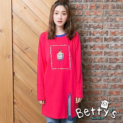 betty's貝蒂思 香水瓶刺繡下擺開衩T-shirt(桃紅)