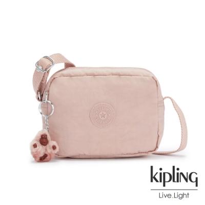 Kipling 氣質玫瑰粉簡約造型拉鍊方包-BETHANY