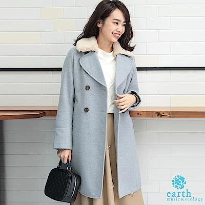 earth music 3WAY雙排釦毛領大衣外套