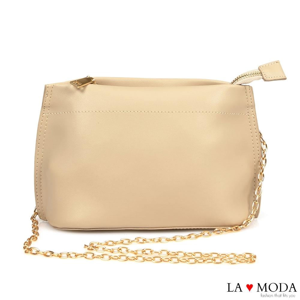 La Moda 輕巧百搭多背法肩背斜背鍊條小包(米白)