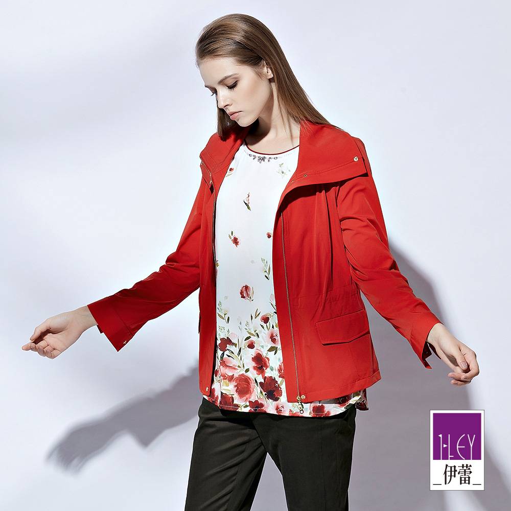 ILEY伊蕾 時尚感線條剪裁風衣外套(紅)
