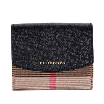 BURBERRY 經典格紋小牛皮折疊短夾 (黑色)