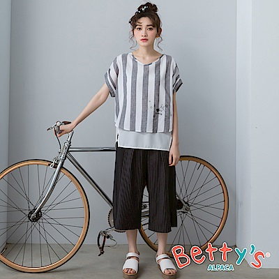 betty's貝蒂思 條紋拼接素面七分寬褲(深灰)