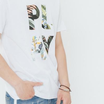 H:CONNECT 韓國品牌 男裝-花紋印字圓領T-shirt-白