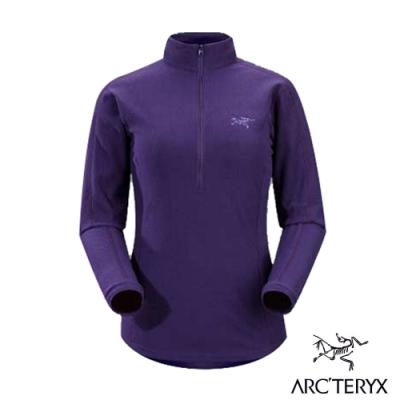 始祖鳥 Polartec女款 Delta LT Zip 羽量級保暖透氣半門襟薄刷毛衣_黑莓紫-
