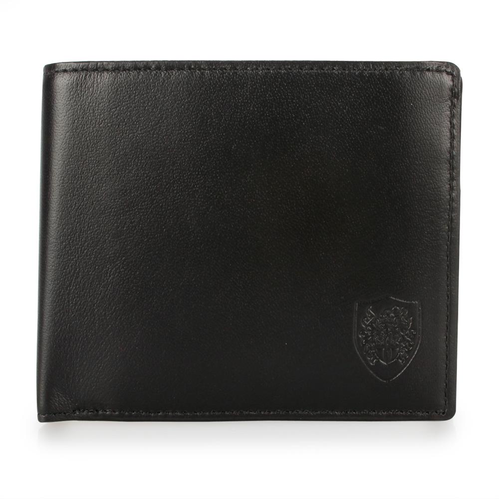 DAKS 簡約時尚皇家徽章紳士皮革短夾-黑色