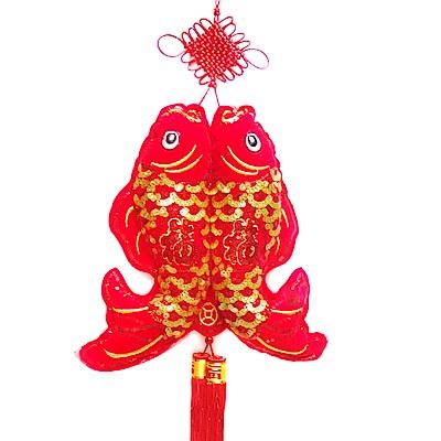 摩達客 農曆春節元宵-絨金刺繡亮片吊飾/掛飾- 35雙魚流蘇