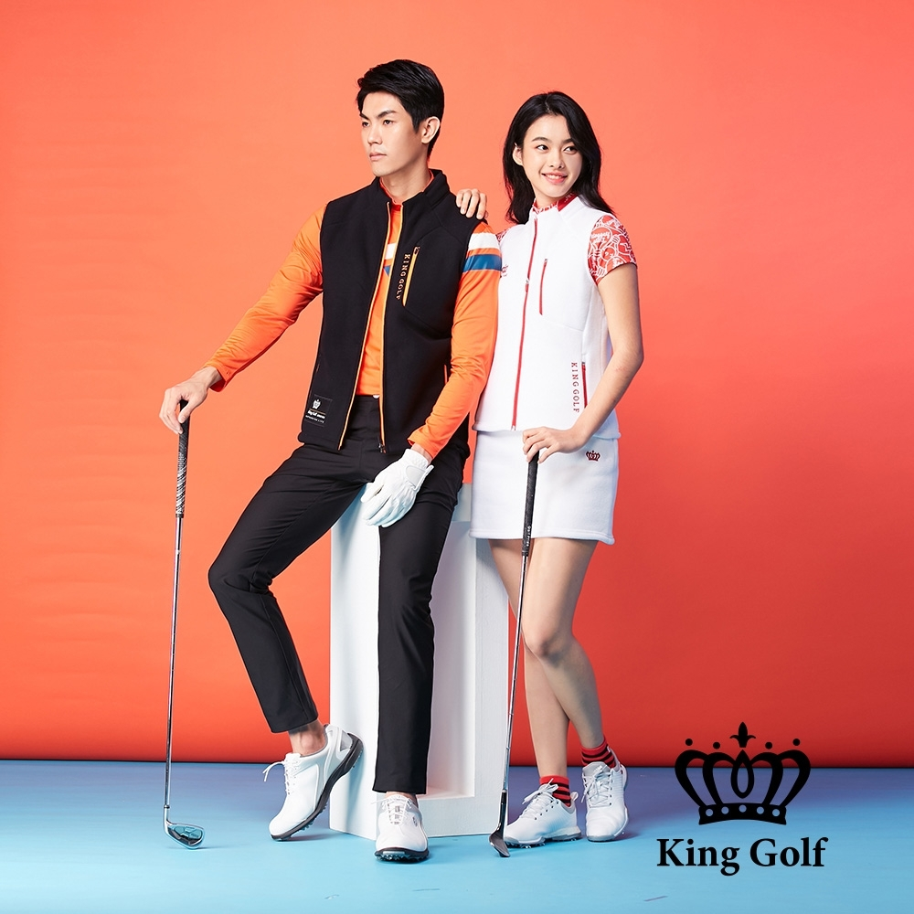 【KING GOLF】搖粒絨毛絨跳色拉鍊無袖背心-白色