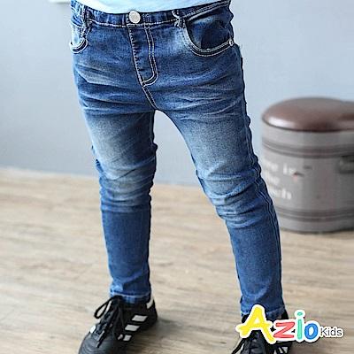 Azio Kids 褲子 刷色車縫雙口袋鬆緊牛仔褲(藍)