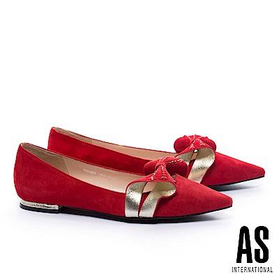低跟鞋 AS 奢華魅力立體晶鑽蝴蝶結麂皮尖頭低跟鞋-紅
