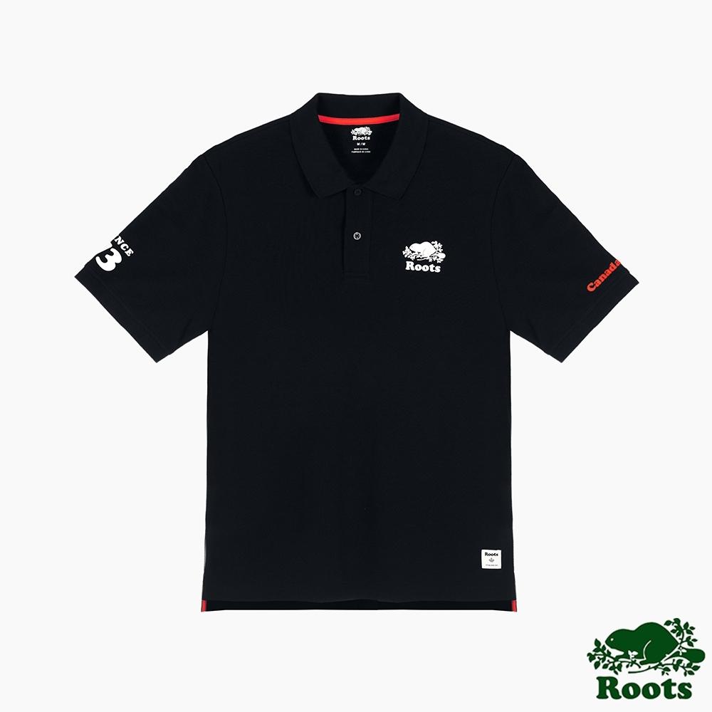 Roots男裝-復古翻玩系列 海狸LOGO短袖POLO衫-黑色