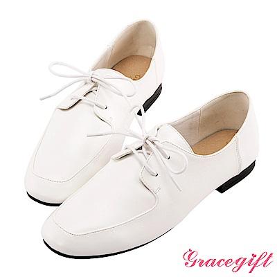 Grace gift-微方頭紳士牛津鞋 白