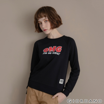 GIORDANO 女裝 Retro Wave復古大學T恤 - 51 標誌黑