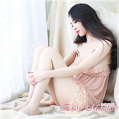 性感睡衣 蕾絲深V性感睡衣 EM衣柔魅姬(香檳色)