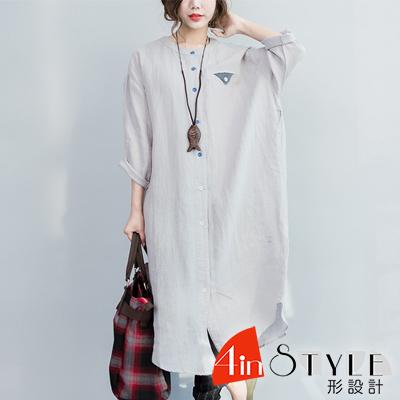 圓領塗鴉印花五分袖長款襯衫 (灰色)-4inSTYLE形設計