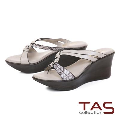 TAS質感蛇紋立體雙結繫帶楔型涼拖鞋-時尚米