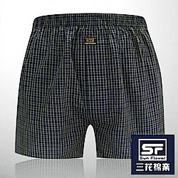 男內褲 Sun Flower三花 5片式平口褲.四角褲_藍細格