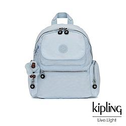 Kipling 棉花糖藍翻蓋多口袋拉鍊後背包-MATTA
