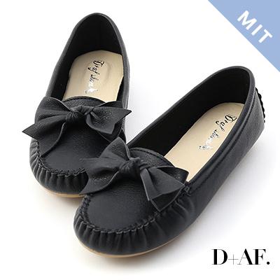 D+AF 可愛印象.MIT立體蝴蝶結莫卡辛豆豆鞋*黑