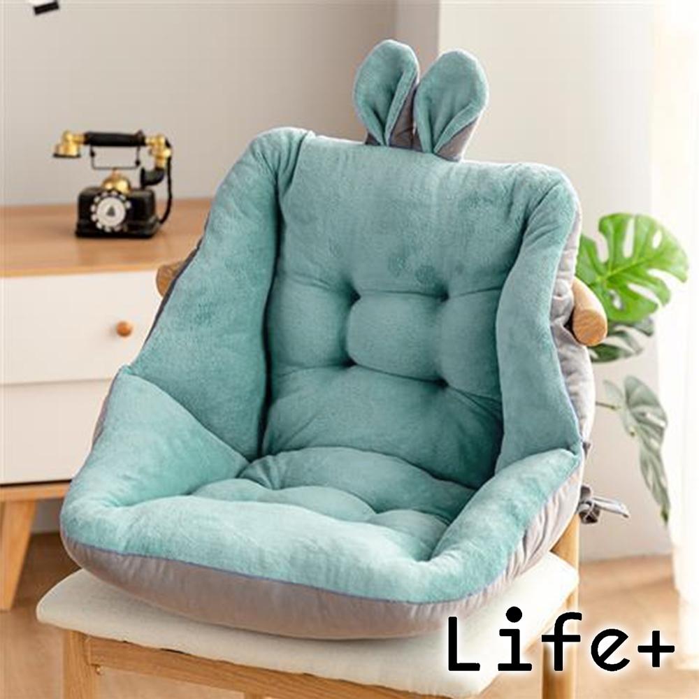 Life+ 童趣絨毛拚色保暖加厚護腰坐墊/靠墊(淺綠)
