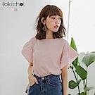 東京著衣 甜美心機直條紋後綁結荷葉袖上衣-S.M.L(共兩色)