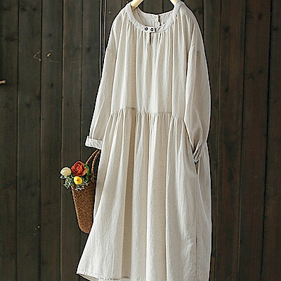 兩件套棉麻條紋寬鬆長洋裝-設計所在