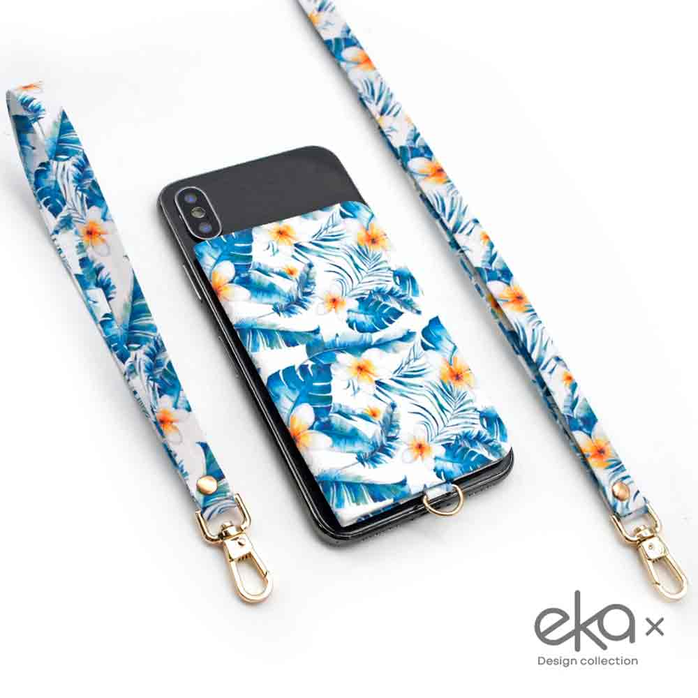 【ekax】手機背貼卡片夾/長頸繩/短手腕繩/三件組(熱帶花舞)